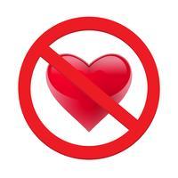 Ban coeur d'amour. Symbole d'interdit et d'arrêter l'amour. Illustration vectorielle - vecteur