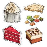 illustration aquarelle de dessert de gâteau, de noisette et de crème glacée vecteur