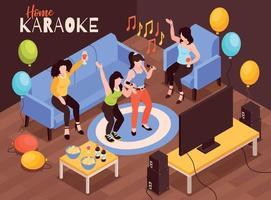 karaoké à la maison composition vecteur