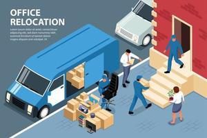 composition de chargement de déménagement de bureau vecteur