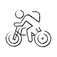 Icône de la ligne de cyclisme vecteur