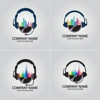 casque dj, logo d'enregistrement de studio de musique vecteur