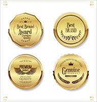 Collection de badges et étiquettes Golden retro sale vecteur
