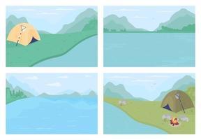plan d'eau entouré de montagnes ensemble d'illustrations vectorielles de couleur plate vecteur