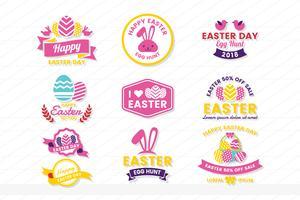 étiquette de vecteur vintage rétro de Pâques