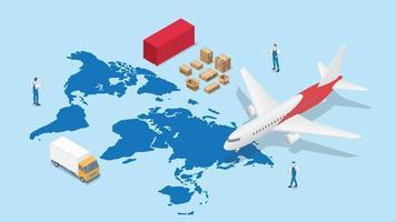 réseau logistique mondial avec carte du monde et transport vecteur