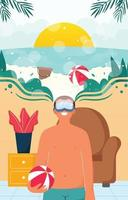 voyage de tourisme virtuel avec concept vr vecteur