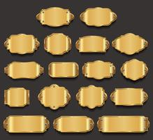 Plaques en métal de première qualité, collection dorée vecteur