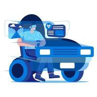 conduire une voiture avec une illustration plate vr vecteur
