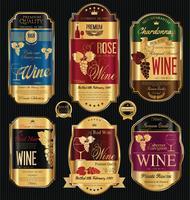 Collection de vecteur d'étiquettes de vin d'or de luxe