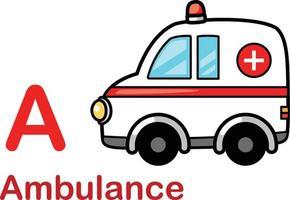alphabet, lettre a-ambulance, vecteur, illustration vecteur