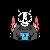 crâne mort rétro tenant le symbole illuminati, conception de t-shirt vecteur