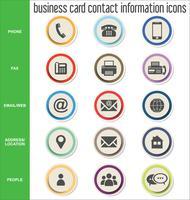 Collection d'icônes d'informations de contact de carte de visite vecteur