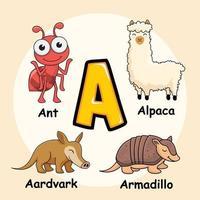 animaux alphabet lettre a pour fourmi alpaga oryctérope tatou vecteur