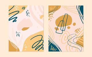 ensemble de 2 couvertures de forme organique abstraite dans un style vectoriel