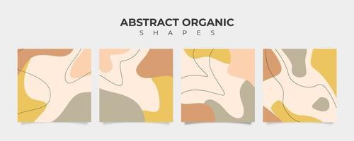 ensemble de 4 bannières de forme organique abstraite de couleur pastel vecteur