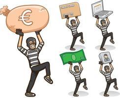 jeu d'illustrations emoji autocollant de personnage de pirate de voleur vecteur