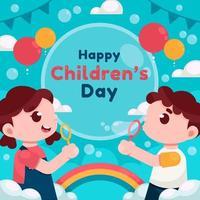 enfants heureux jouant à la bulle le jour des enfants vecteur