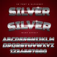 Lettrage stylisé argent 3D Texte, police de caractères et alphabet vecteur