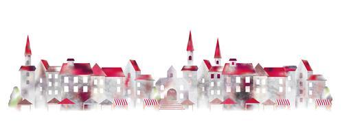 Paysage urbain européen aquarelle. vecteur
