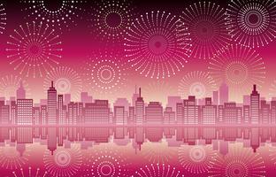 Paysage urbain sans couture avec feux d'artifice de célébration.