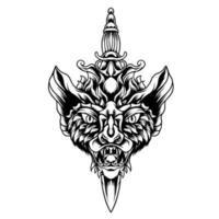 diable chauve-souris avec la silhouette du couteau vecteur