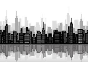 Paysage urbain sans faille avec des gratte-ciels. vecteur