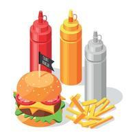 composition isométrique de la sauce burger vecteur
