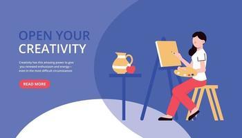 bannière horizontale de créativité d'artiste vecteur