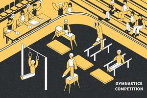 composition de compétitions de gymnastique isométrique vecteur