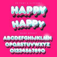 Lettrage stylisé arrondi 3D Texte, police de caractères et alphabet