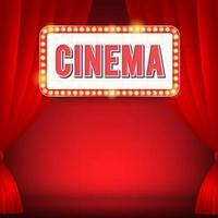 signe de cinéma avec panneau d'affichage lumineux, promo de film. illustration vectorielle vecteur