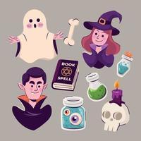 ensemble d'éléments d'halloween vecteur