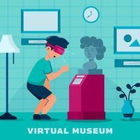 concept de visites virtuelles de musées vecteur