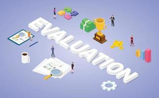 concept d'évaluation d'entreprise avec des données d'analyse de personnes d'équipe vecteur