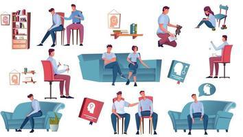 collection d'icônes de consultation psychologique vecteur