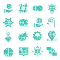 Jeu d'icônes de dégradé global des affaires