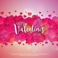 Happy Valentines Day Design avec coeurs rouges