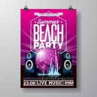 Vector Party Flyer Design avec des éléments de musique sur violet