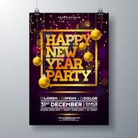 Modèle d'Affiche de célébration fête du nouvel an vecteur