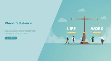 équilibre travail-vie personnelle sur le concept d'échelle pour l'atterrissage du site Web vecteur