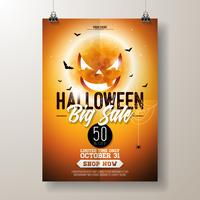Illustration de flyer vente Halloween vecteur