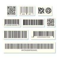 étiquettes à code-barres. autocollant de rayures de code, étiquette de barre numérique vecteur