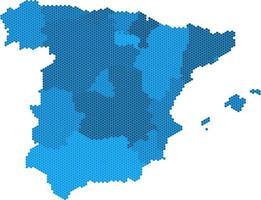 carte de l'espagne en forme d'hexagone bleu sur fond blanc. illustration vectorielle. vecteur