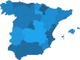 carte d'espagne de forme carrée bleue sur fond blanc. illustration vectorielle. vecteur