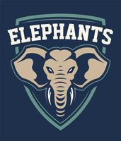 Design emblème sport mascotte éléphant vecteur