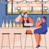 barman parler à une femme dans un concept de bar vecteur