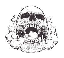 Fumer, crâne, art vecteur
