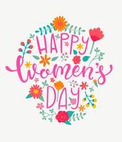 Carte de fête des femmes heureuse, lettrage dessiné à la main. vecteur
