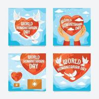 bonne journée humanitaire publication sur les réseaux sociaux vecteur